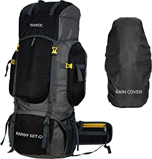 TRAWOC 80L Travel Backpack for Outdoor Sport Camp Hiking Trekking Bag Camping Rucksack BHK001 1 Year Warranty (Black)