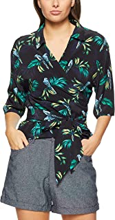 French Connection Women's Paradise WRAP Shirt, Black/Multi