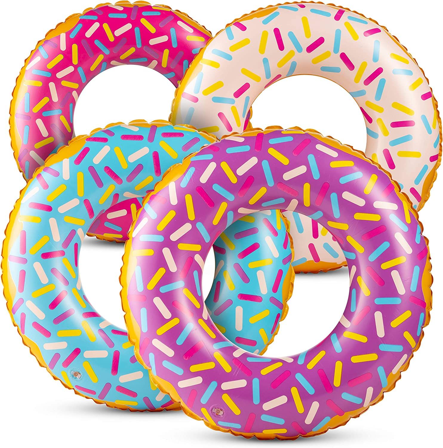 Inflatable Donuts (Pack of 4) 24 Inch Sprinkle Donut Inflatables, in Assorted Neon Colors, for Summer, Pool ,Beach Party Decorations, Floating Ring for Younger Kids and Toddlers