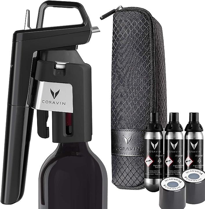 Sistema di conservazione del vino model six – 3 capsule di gas argon,2 tappi a vite custodia trasporto coravin B08439Q94T