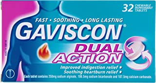 Gaviscon Dual Action Chewable Peppermint Heartburn & Indigestion Relief Tablets (Count of 32)
