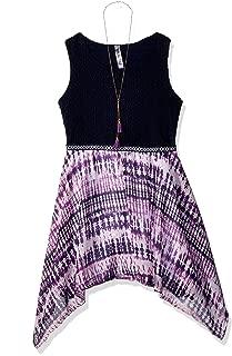 Beautees Girls' Big Bodice with Print Skirt Dress