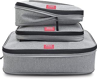 WONDER TRAVELERS 旅行用衣類圧縮バッグ オーガナイザー ファスナー式 男女兼用 大小3個セット グレー