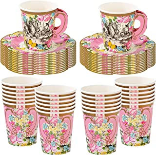 Talking Tables Truly Alice Alice in Wonderland Mad Hatter Party Cup Set with Handle and Saucers in 3 Designs for a Tea Party or Birthday (2 Pack)