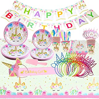 Unicorn Party Supplies and Birthday Decorations for Girls, 165 Piece Set Serves 16. Headbands, Sash, Bday Banner, Plates, Cups, Forks, Knives, Spoons, Straws, Tablecloth, Pink Cake Cutter. Glowmati