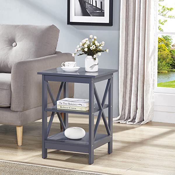 Grey Finish Wooden X Design Chair Side End Table With 3 Tier Shelf