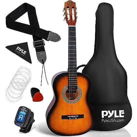 "Beginner 36"" Classical Acoustic Guitar - 3/4 Junior Size 6 String Linden Wood Guitar w/Gig Bag, Tuner, Nylon Strings, Picks, Strap, for Beginners, Adults - Pyle PGACLS82SUN (Sun Burst)"