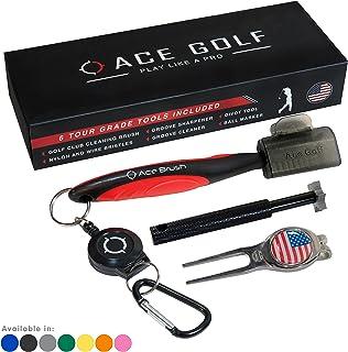 گریس بریچ Club Groove Cleaner Set ابزار Divot، نشانگر توپ، شیار گیر شیار، 2 Ft قابل کشیدن سبک خطی آلومینیوم Carabiner، سبک وزن، طراحی ارگونومیک، کیسه های گلف
