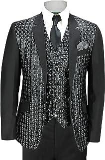 Traje de 3 piezas para hombre, diseño geométrico, color negro, brillante, para boda, fiesta, mod funky