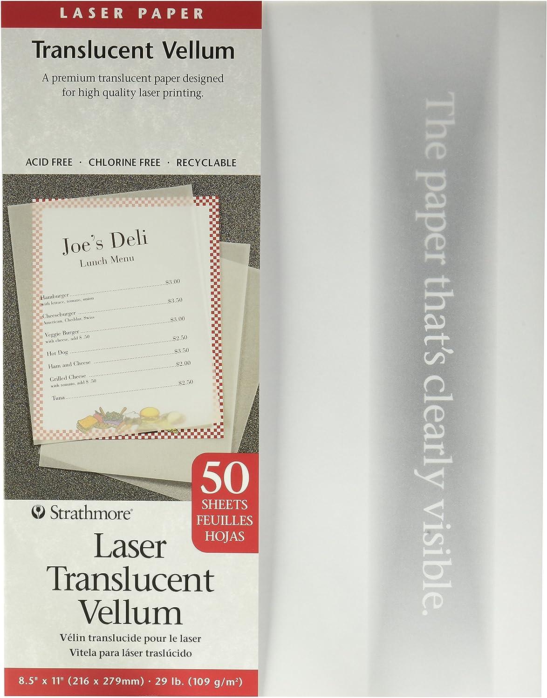 50 Sheets,White//Ivory New Version 8.5x11 Laser Vellum Inkjet Paper