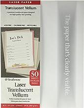 """Strathmore 59-854 Laser Vellum Inkjet Paper, 8.5""""x11"""", 50 Sheets,white/ivory"""