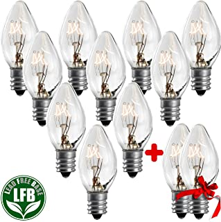 7 Watt Night Light Replacement Bulbs - 10 Pack + 2 Free, Salt Lamps & NightLight Replacement Bulb, Flea Traps, Electric Window Candle Bulb, Night Lamps & Christmas Lights. Incandescent E12 Socket C7