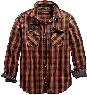 Men's Oak Leaf Plaid Slim Fit Shirt, Orange/Black