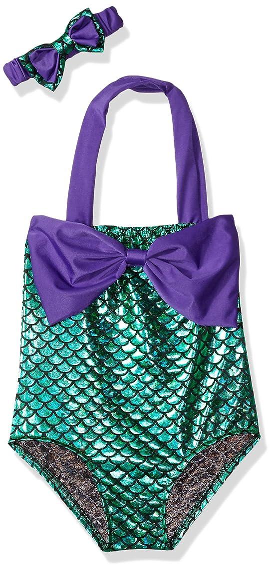 Little Girls swimsuits for girl one piece Mermaid Princess Toddler Bikini Swim Bathing Suit+headband
