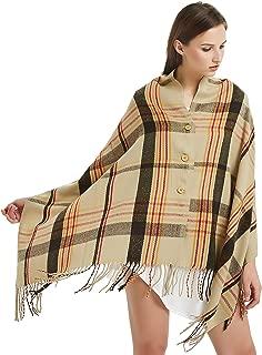 VIVIAN & VINCENT Women's Soft Plaid Tartan Button Blanket Scarf Shawl Wrap