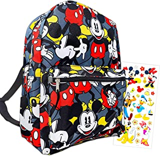 "Mickey Mouse Backpack for Boys Girls Kids - 16"" Disney Mickey Mouse School Backpack Bag Bundle with Stickers (Mickey Mouse..."