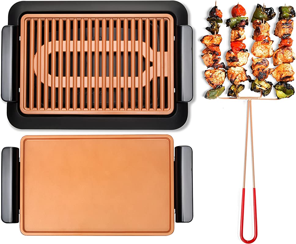 GOTHAM STEEL Smokeless Electric Grill Griddle And Pitchfork Indoor BBQ And Nonstick As Seen On TV Large