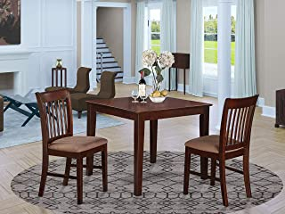 East West Furniture 3 Pc Small Set-Square Table and 2 Kitchen Dining Chairs, Mahogany Finish