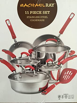 Rachael Ray Classic Brights Stainless Steel 11-Piece Cookware Set, Red Handles