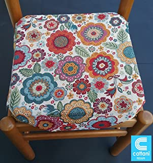 mauro Cuscini sedie Cucina-Set 6 Pezzi-Double Face-Imbottitura Multistrato-Volant-Zip 41x41x5 cm-VAR.11 Laccetti-Tessuto Cotone Pesante