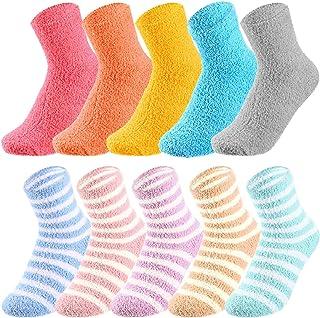 10 Pairs Women Warm Plush Slipper Socks Microfiber Plush Crew Fuzzy Socks Casual Home Sleeping Socks for Winter Home Wear,...