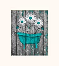 Teal Bathroom Wall Art, Farmhouse Bathroom Decor, Photography Matted 5x7, 8x10, 11x14, Daisy Flowers, Butterflies Rustic Home Decor Picture