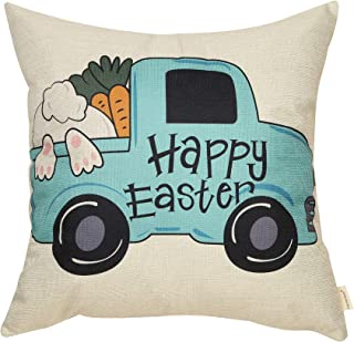 Fahrendom Happy Easter Vintage Truck Bunny Carrot Farmhouse Style Spring Holiday Sign Cotton Linen Home Decorative Throw Pillow Case Cushion Cover with Words for Sofa Couch, 18 x 18 in