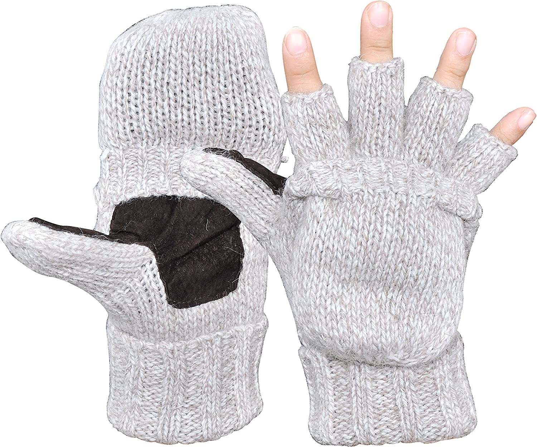 Leamekor Men's Winter Gloves Warm Wool Knitted Convertible Fingerless Mittens Unisex
