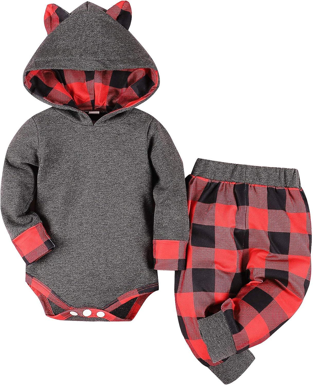 Newborn Baby Boys Clothes Infant Baby Bear Long Sleeve Romper Bodysuit+Pants + Hat 3Pcs Fall Winter Outfits Set