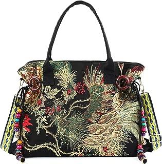 Women Canvas Tote Bags Phoenix Sequins Embroidery Handbags Stylish Casual Shoulder Bags,With Vintage Decorative Pendants