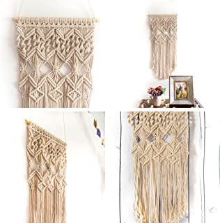 Macrame Wall Hanging Woven Large Tapestry - Handmade Bohemian Home Decor - Boho Chic Apartment Studio or Dorm Decorative Interior Wall Art - Office Living Room Bedroom Nursery Craft Decorations