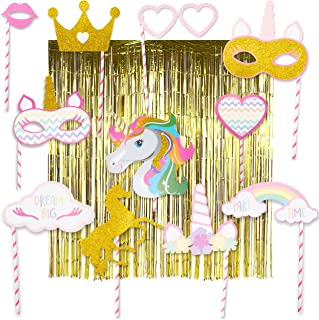 COMPLETE Unicorn Photo Booth Props | HUGE 6.4 ft x 9.8 ft Unicorn Photo Backdrop (Wrinkle-Free, Dazzling Gold) PLUS 12-piece Unicorn Photo Booth Party Props | PREMIUM Magical Rainbow Unicorn Party Theme Photobooth DIY Props Sparkle Gold Glitter & Two Gold Metallic Tinsel Foil Fringe Curtains Stunning Studio Photography Background (14-pieces total) | Perfect Unicorn Birthday Party Supplies Favors Decorations for Birthday Girl Baby Bridal Shower Bachelorette Party! - By Sweet Lady K 2019 New
