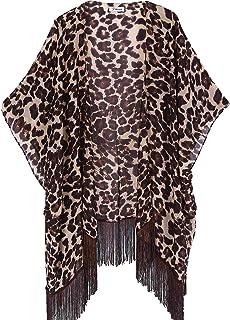 0a0872cb505e Women's Floral Kimono Cover Up - Lightweight Leopard Chiffon Beachwear for  Bikini,Cardigan and Swimwear