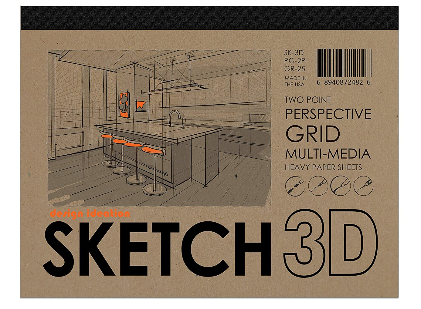 Design Ideation SKETCH 3D Multi-Media Perspective Grid Paper for Pencil, Ink, Marker and Watercolor Paints. Great for Art, Design and Education. Two Point Perspective Grid.
