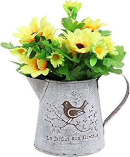 French Country Vintage Bird Decorative White Shabby Chic Mini Metal Pitcher Flower Vase