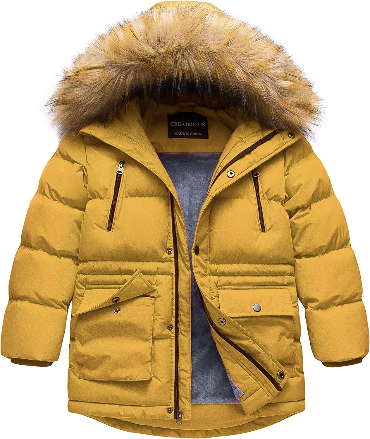 CREATMO US Boy's Winter Max 41% OFF Parka Resistant Flee Hooded Water Puffer Ranking TOP14