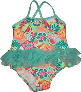 Wonder Nation Baby Girls Aqua Mint Floral Tutu 1 Piece Bathing Suit