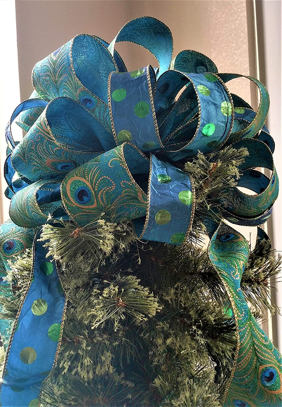 Christmas Tree Topper - Peacock Christmas Tree Topper Bow - Holiday Decoration Bow - Peacock and Polka Dot Tree Tops