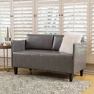 Christopher Knight Home Nyx Grey Leather Loveseat