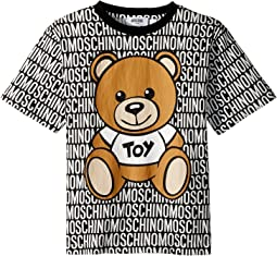 Moschino Kids - Short Sleeve All Over Logo Print Teddy Bear Graphic T-Shirt (Little Kids/Big Kids)
