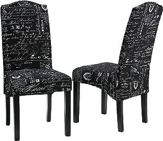 Cortesi Home Fletcher Dining Chair in Black Script Fabric
