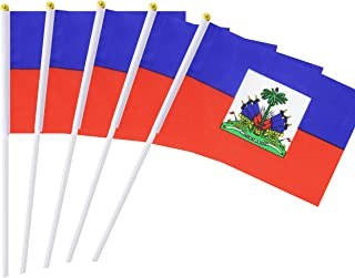 Hand Held Haiti Flag Haitian Flag Stick Flag Mini Flag 50 Pack Round Top National Country Flags, Party Decorations Supplies For Parades,World Cup,Sports Events,International Festival (8.2