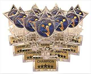10 Pack of Bronze Cheerleading Cheerleader Star Medals Trophy Award with Neck Ribbons
