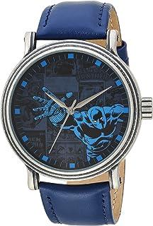 ساعة مارفل للرجال - انالوج كوارتز مع سوار جلد صناعي، ازرق، 22 موديل WMA000195