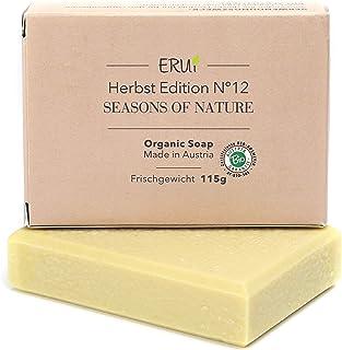 ERUi Nachhaltige Bio Rasierseife für Herren & Damen - Handgemachte Naturseife für eine sanfte Rasur - Vegan, ohne Palmöl, Plastik und Parfum 1 x 115 g