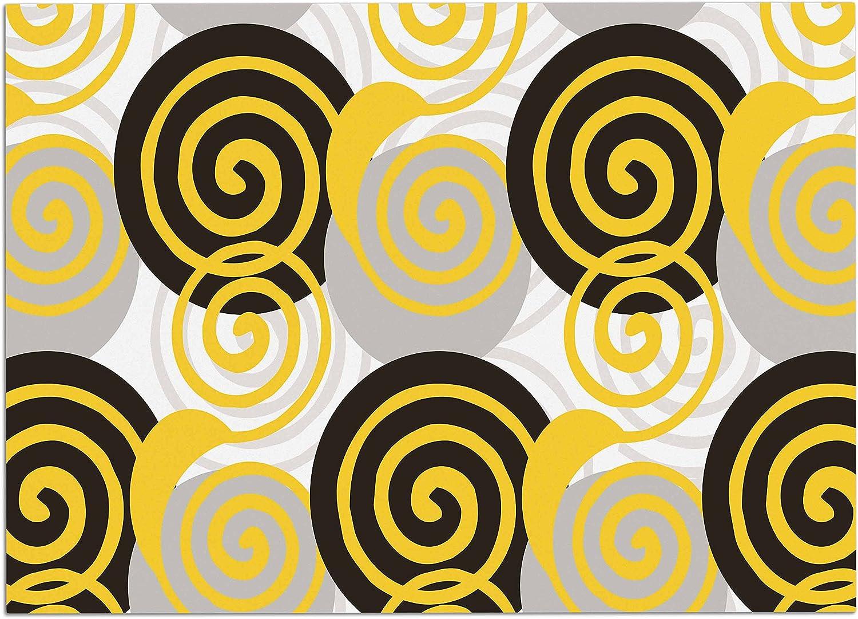 KESS InHouse JS3021ADM02 Patternmuse Dynamic Swirls Yellow Yellow Black Digital Dog Place Mat, 24  x 15