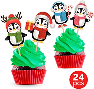 Penguin Cupcake Toppers Cake Picks - Christmas Party Decorations Supplies for Kids Winter Holiday - 24 PCS