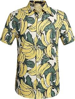Men's Cotton Button Down Short Sleeve Hawaiian Shirt