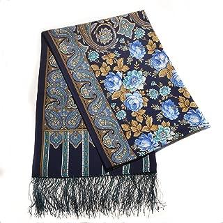 100% Wool Blue Luxury Floral Shawl with Silk Fringe