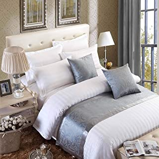 OSVINO European Style Luxury Modern Smooth Bed Runner Scarf Bedding Protection Decoration for Bedroom Hotel, Grey 240X50cm for 180cm Bed